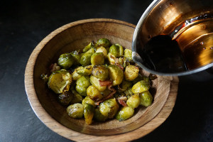 Roasted Brussels sprouts and bacon with balsamic reduction