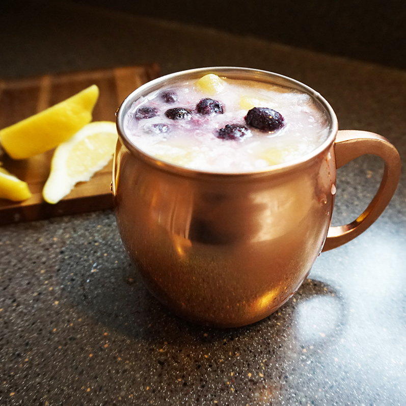 Lemon blueberry colada mocktail