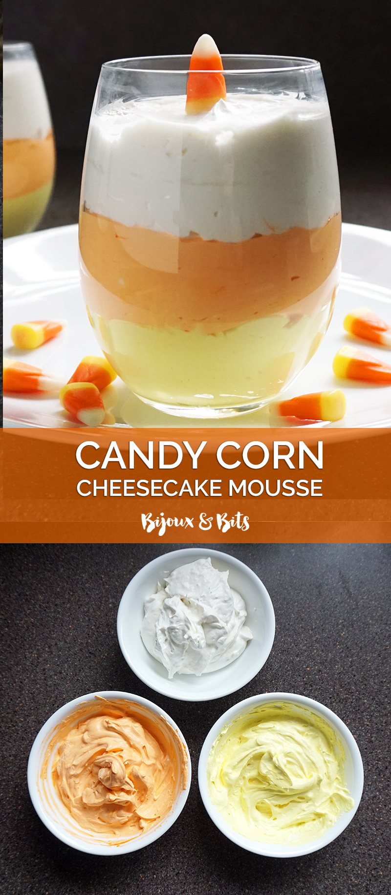 Candy corn cheesecake mousse recipe from @bijouxandbits