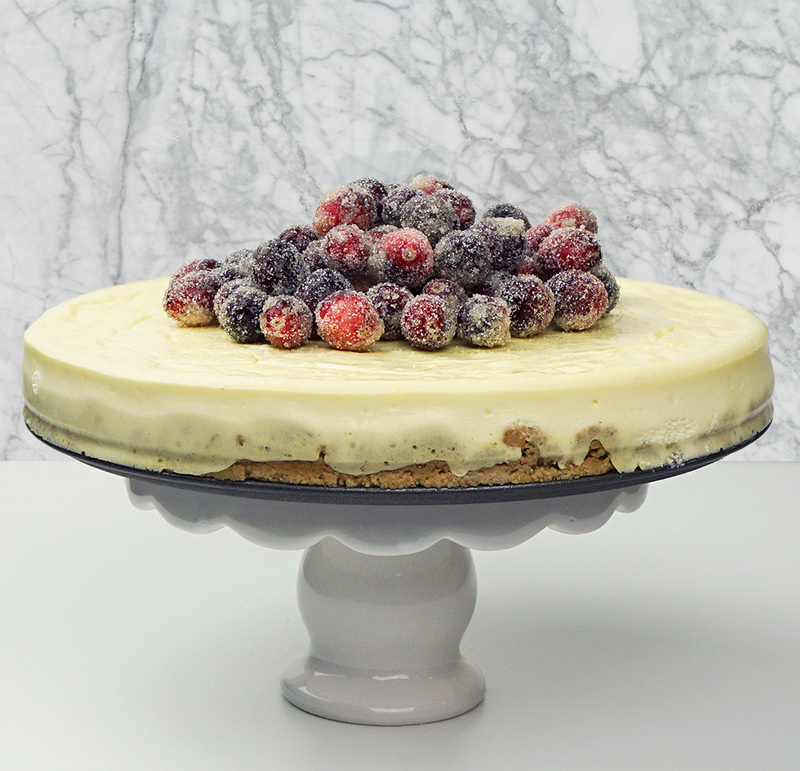 Orange cheesecake with sugared cranberries