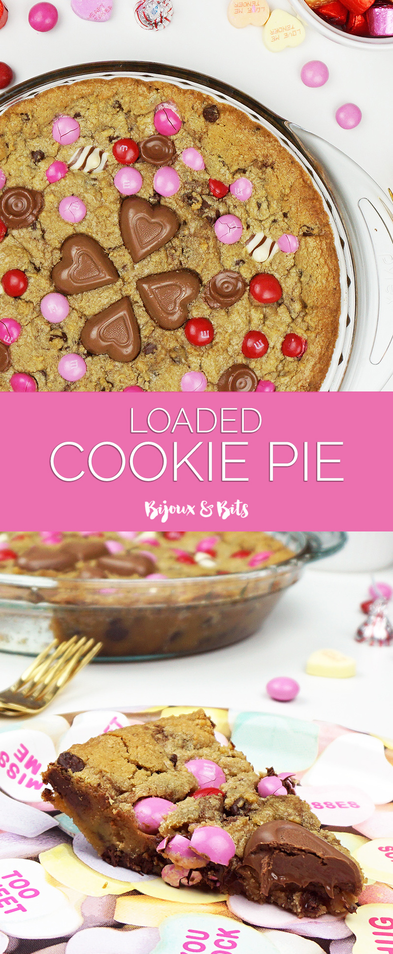 Candy loaded cookie pie recipe from @bijouxandbits #cookies #valentinesday