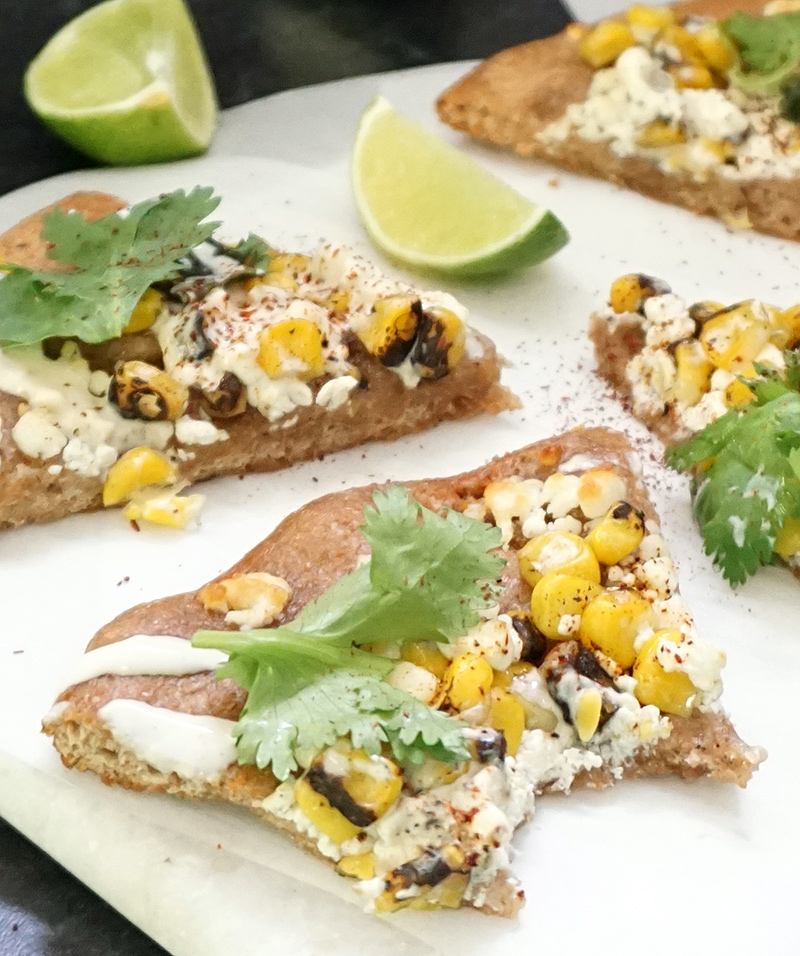 Elote pizza (Mexican street food charred corn pizza) from @bijouxandbits #mexicanfood #cincodemayo #elote