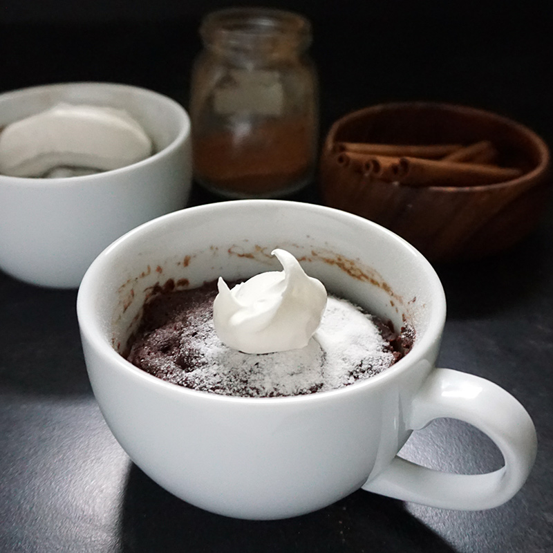 Mexican chocolate coffee mug cake