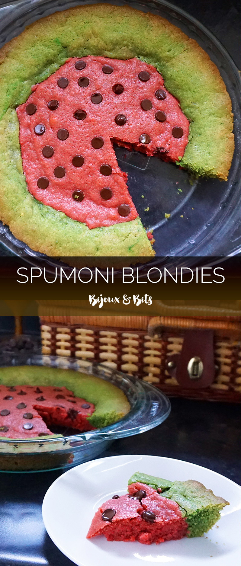 Spumoni blondies (watermelon-shaped!) from @bijouxandbits #blondies #summer