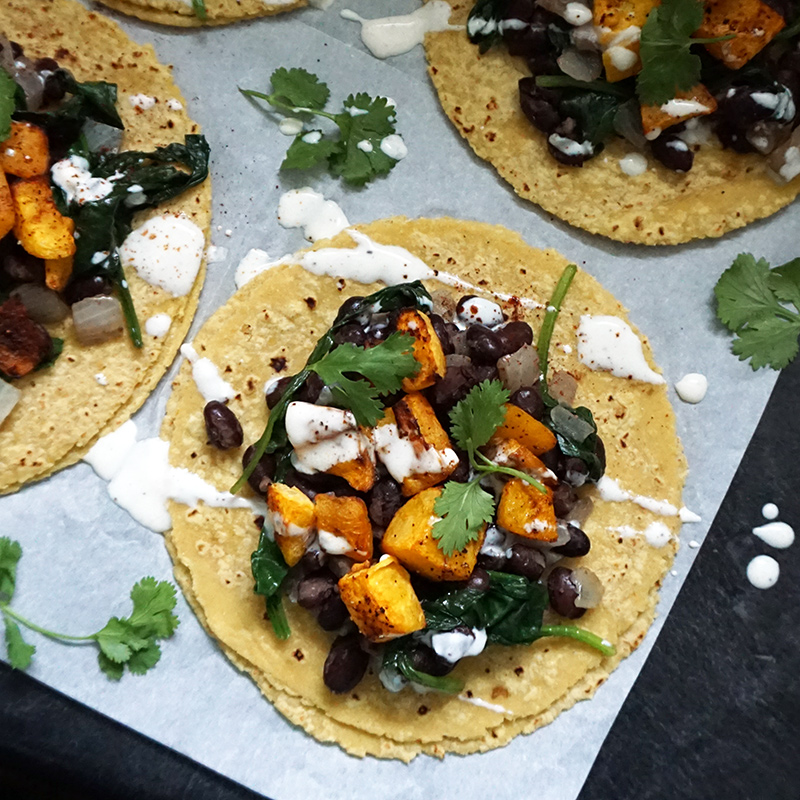 Vegan butternut squash tacos from @bijouxandbits