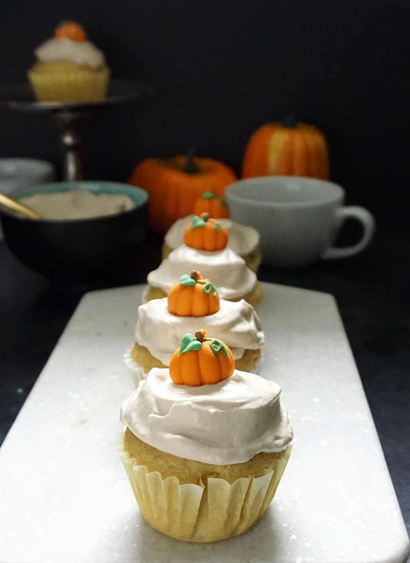 ... whipped cream frosting. Yep, they're pumpkin spice latte cupcakes