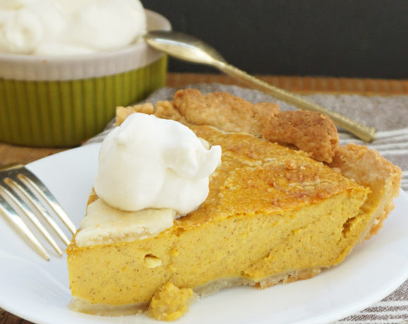 Pumpkin pie with maple bourbon cream
