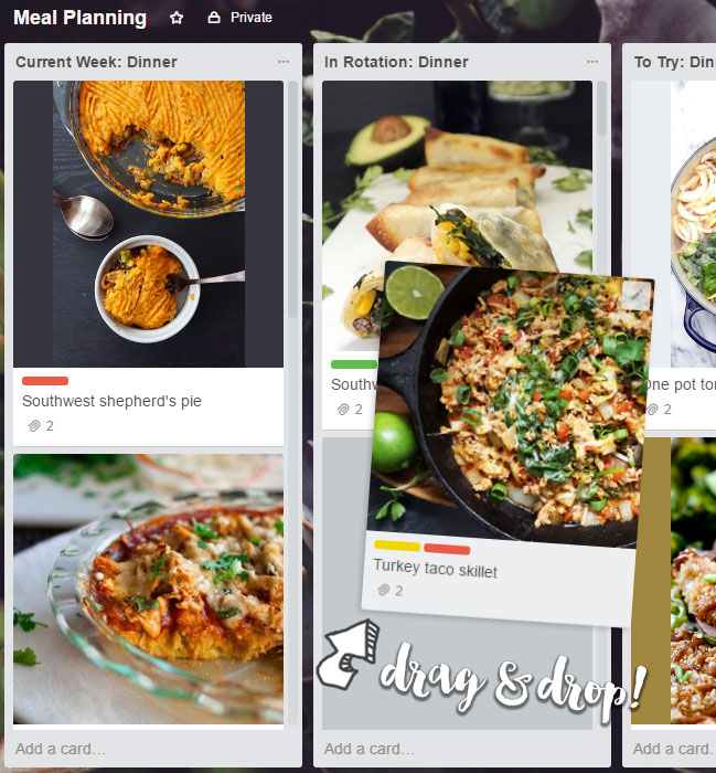 Meal planning with Trello