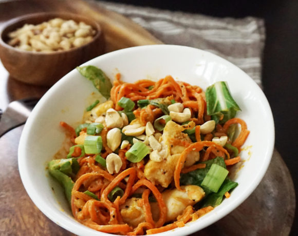 Thai peanut chicken & spiralized carrots