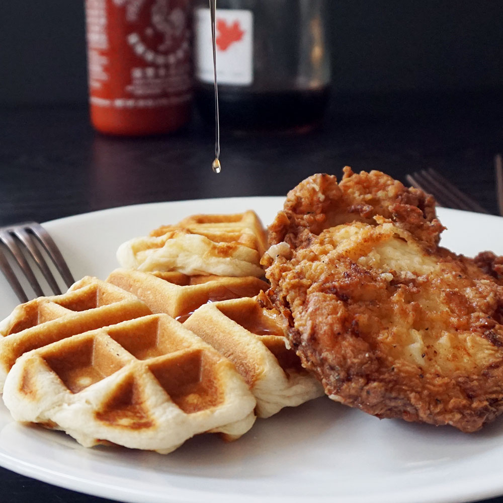 Easy buttermilk fried chicken and waffles