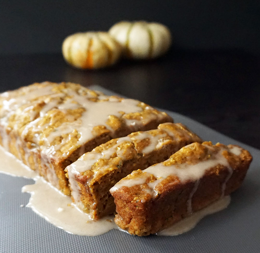 Pumpkin zucchini bread with cinnamon glaze