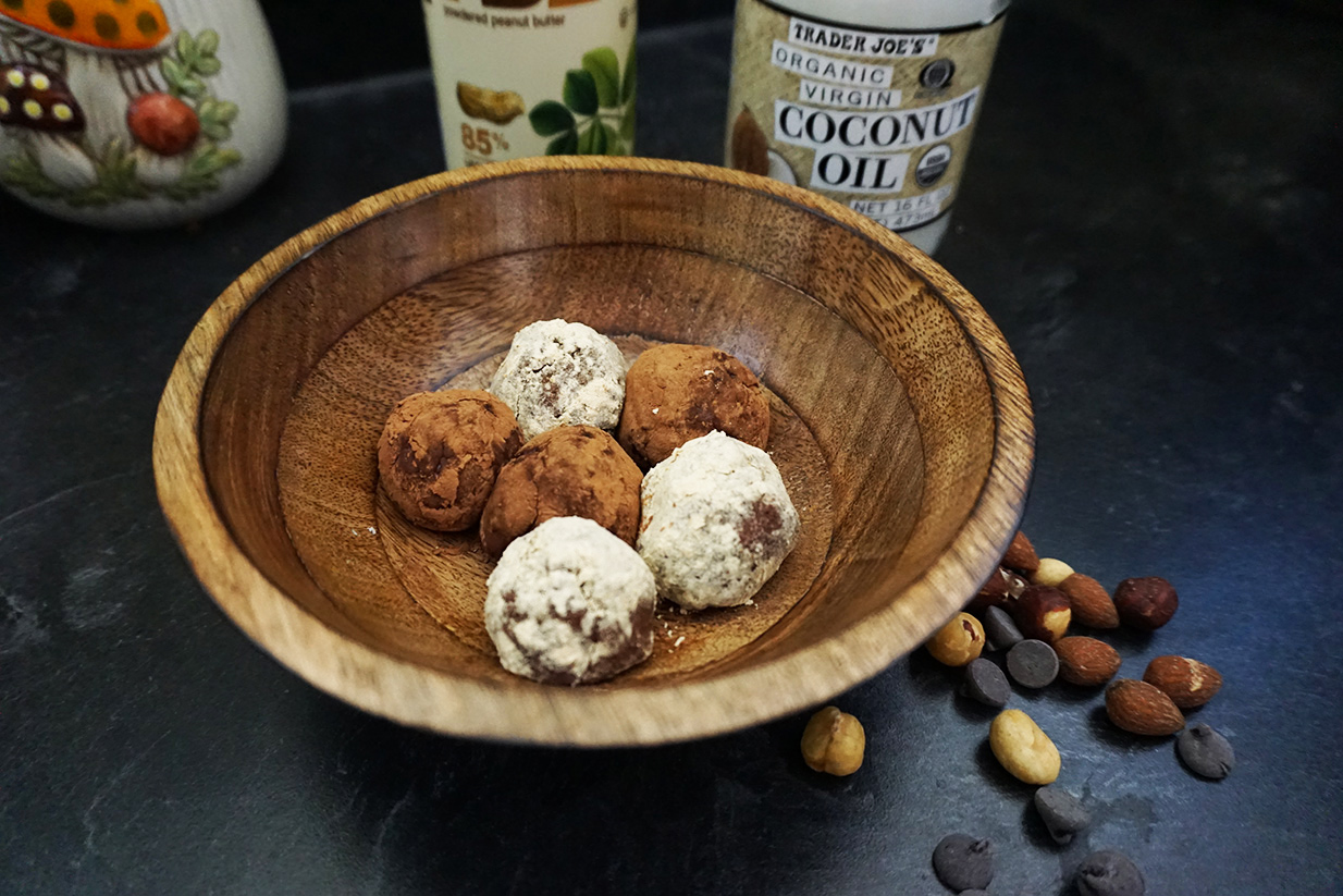Peanut butter cup protein truffles