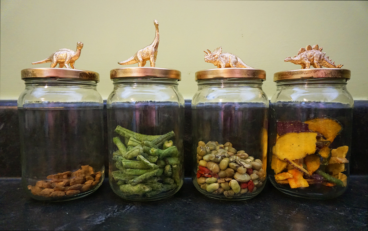 Jurassic pickle jar upcycling