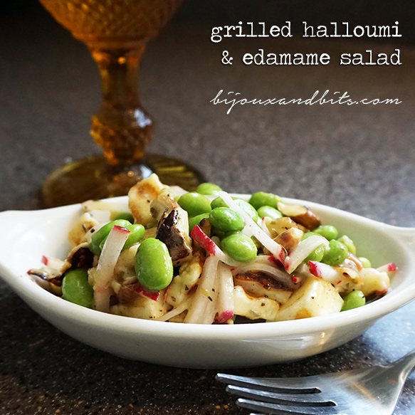 Grilled halloumi and edamame salad