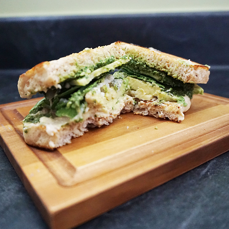 Mean green pesto avocado sandwich