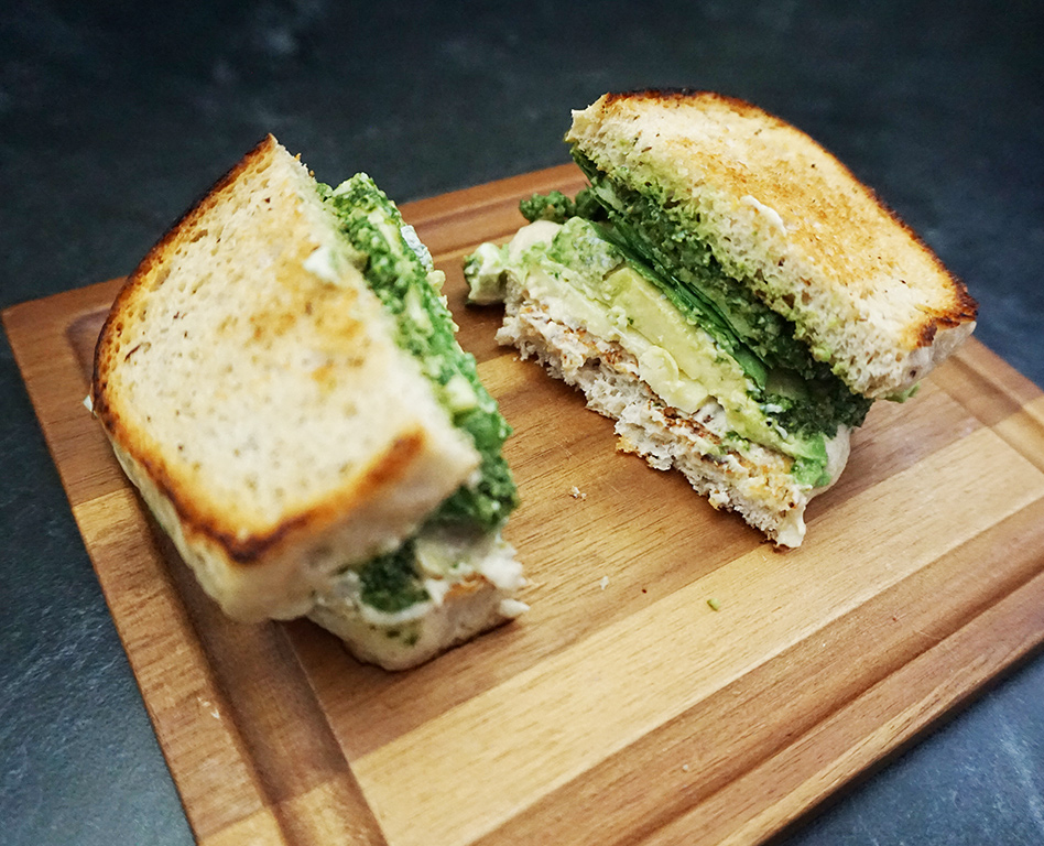Pesto avocado sandwich recipe