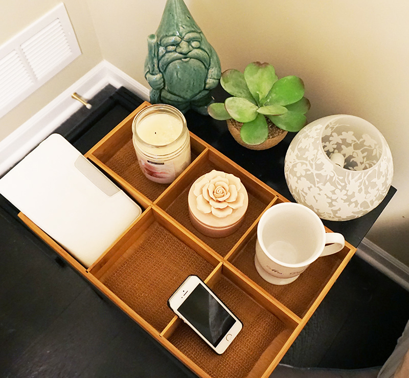 Bedside tray hack to save your stuff at night