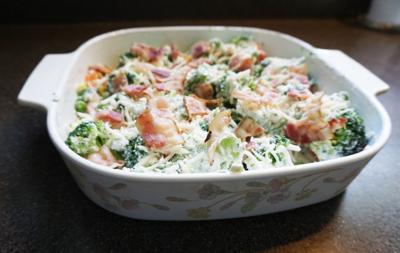 Creamy broccoli bacon casserole recipe from @bijouxandbits