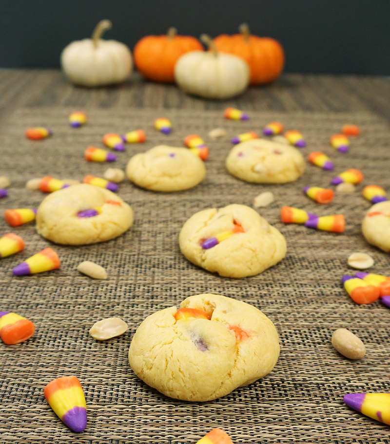 Candy corn cake batter cookies on @bijouxandbits
