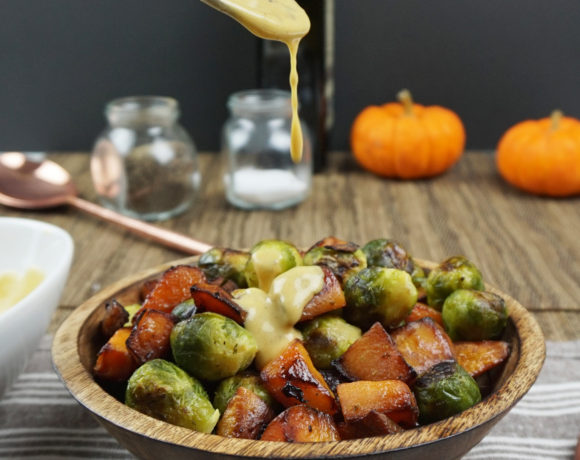 Roasted Brussels sprouts and squash with dijon vinaigrette