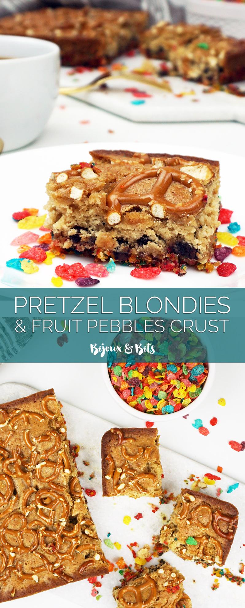 Pretzel blondies with Fruity Pebbles crust from @bijouxandbits