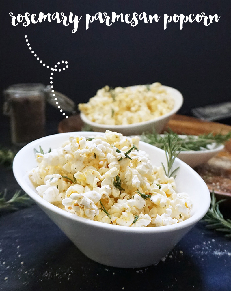 Rosemary Parmesan popcorn recipe from @bijouxandbits