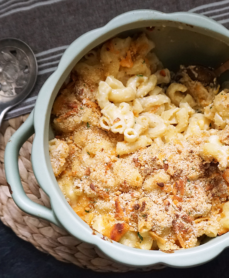 Three-cheese brown butter truffle macaroni and cheese
