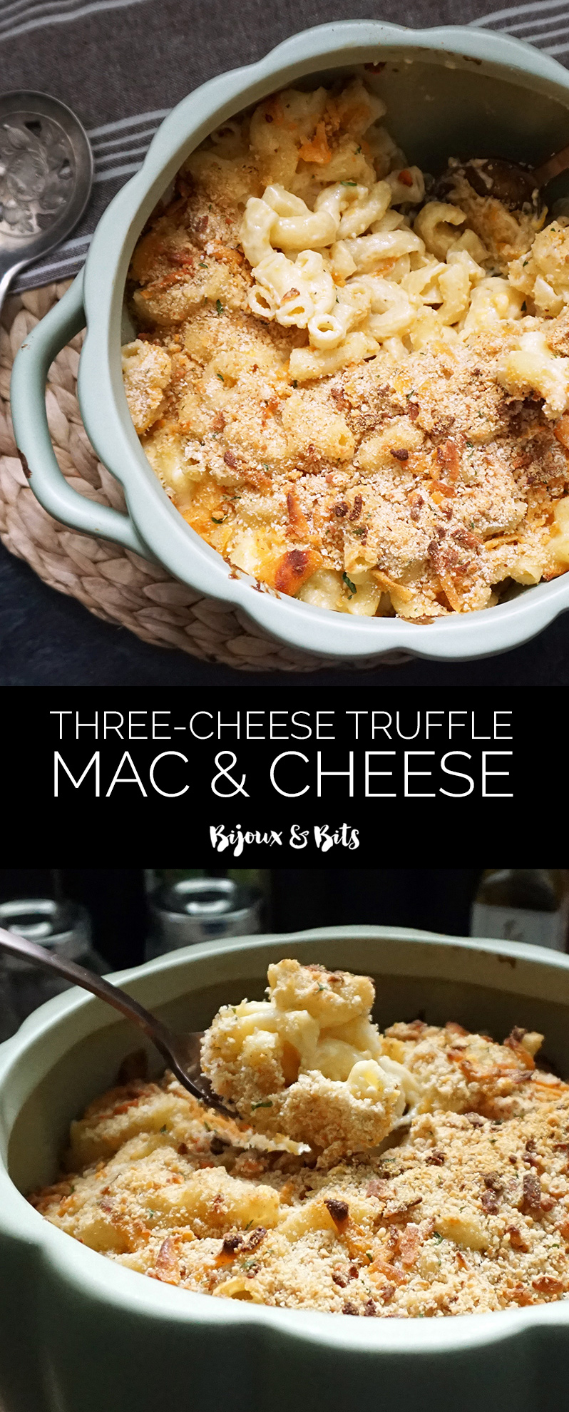 Three-cheese brown butter truffle mac and cheese recipe from @bijouxandbits #superbowl #oscars