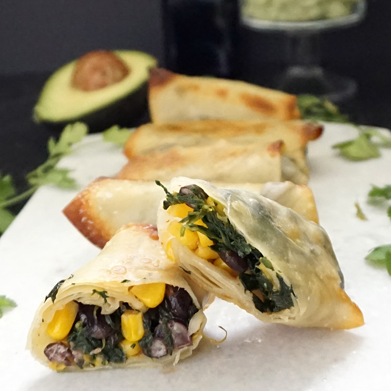 Southwest egg rolls with avocado cream