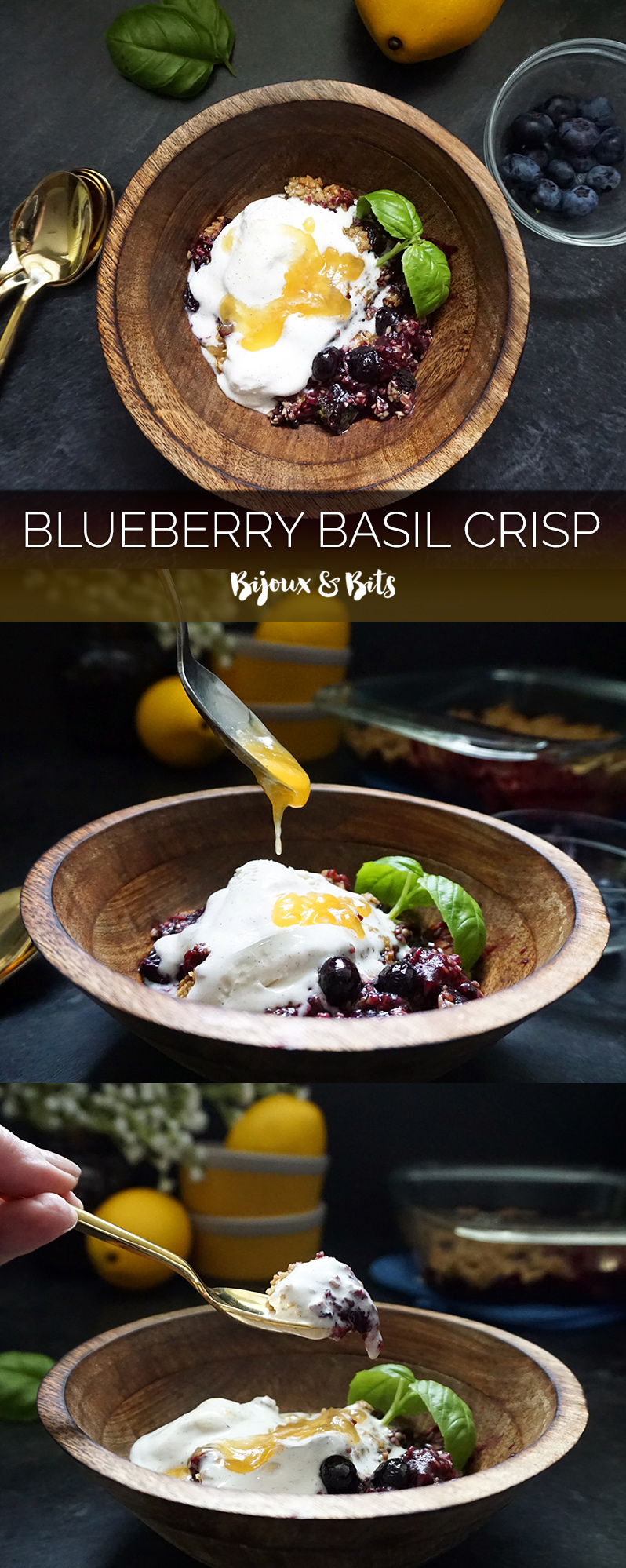 Blueberry basil crisp with lemon curd drizzle from @bijouxandbits #blueberries