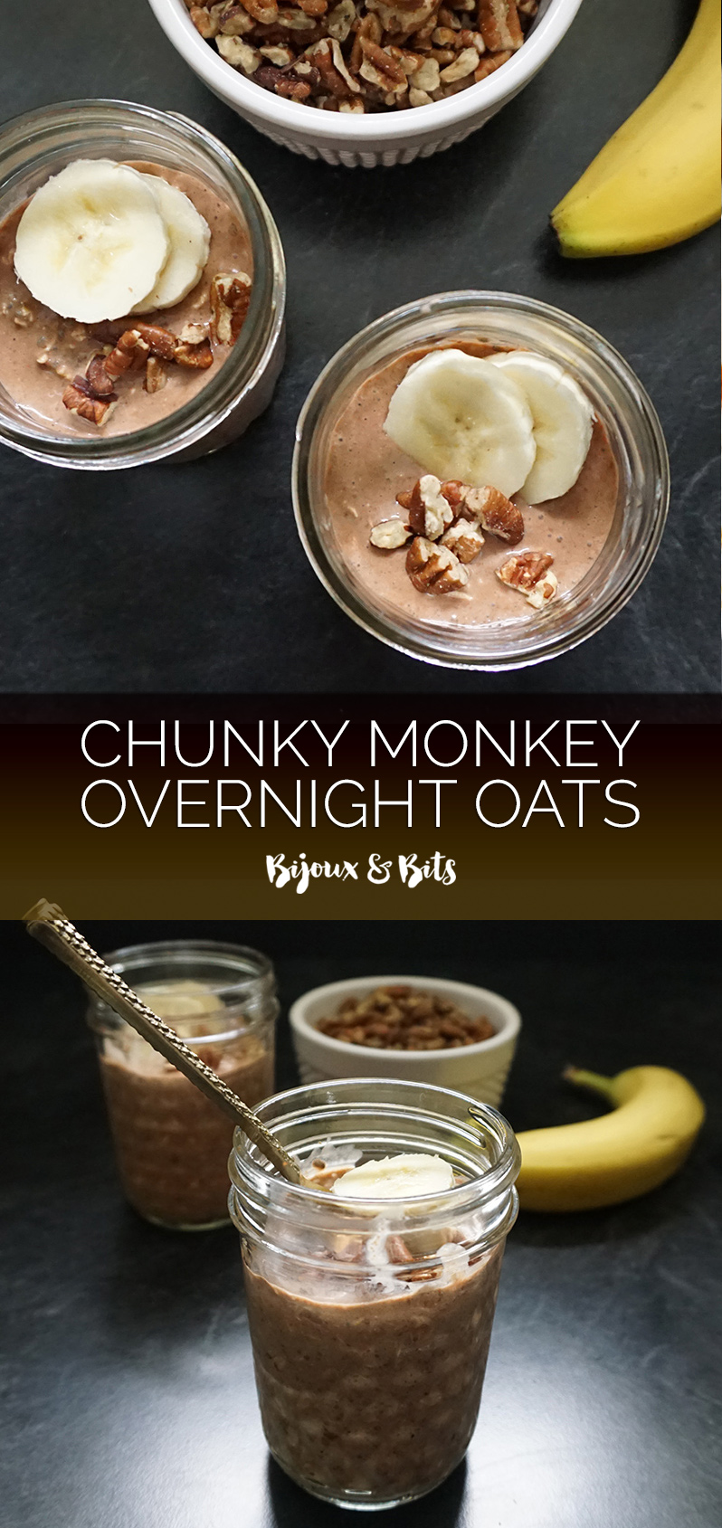 Chunky monkey overnight oats from @bijouxandbits #overnightoats