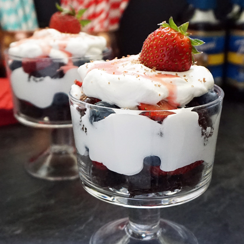 Berry brownie trifle
