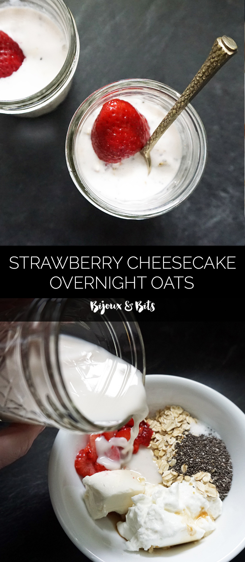 Strawberry cheesecake overnight oats from @bijouxandbits #overnightoats