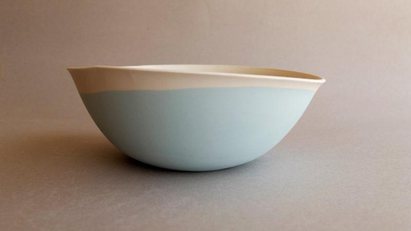 Blue ceramic salad bowl