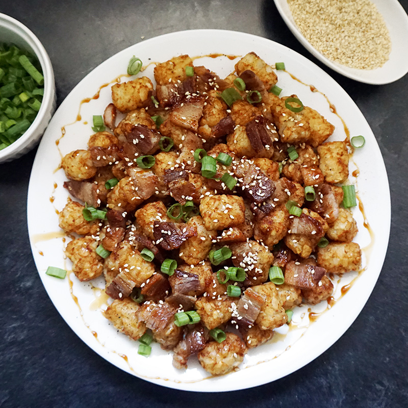 Asian pork belly loaded tater tots