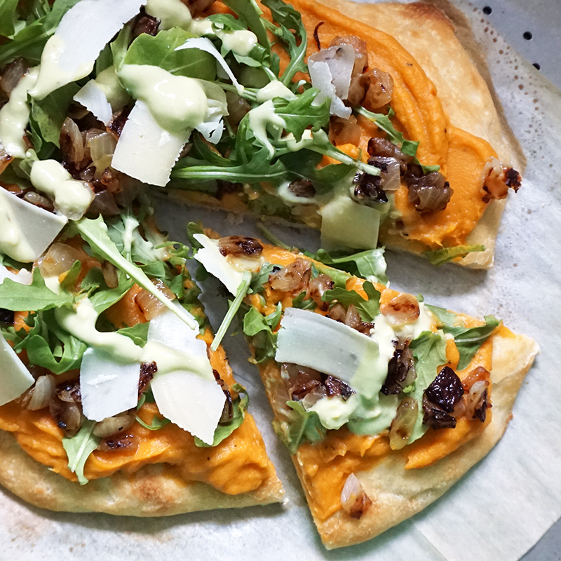 Sweet potato pizza with avocado cream