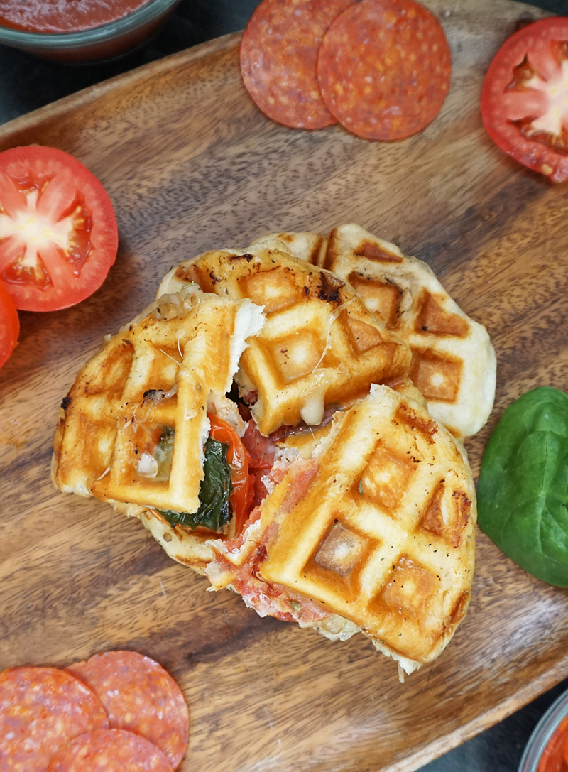 Pepperoni pizza waffles from @bijouxandbits #pizza #waffles