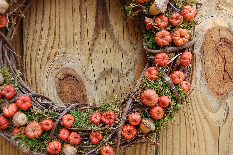 Rustic dried floral pumpkin wreath