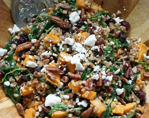Fall wheatberry salad (with vegan option)