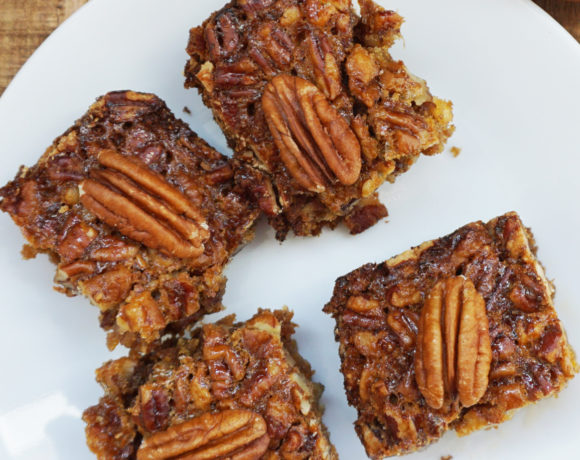 Pecan pie bars with ginger snap crust