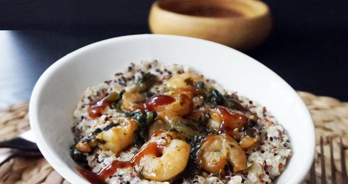 BBQ shrimp quinoa with lemon aioli