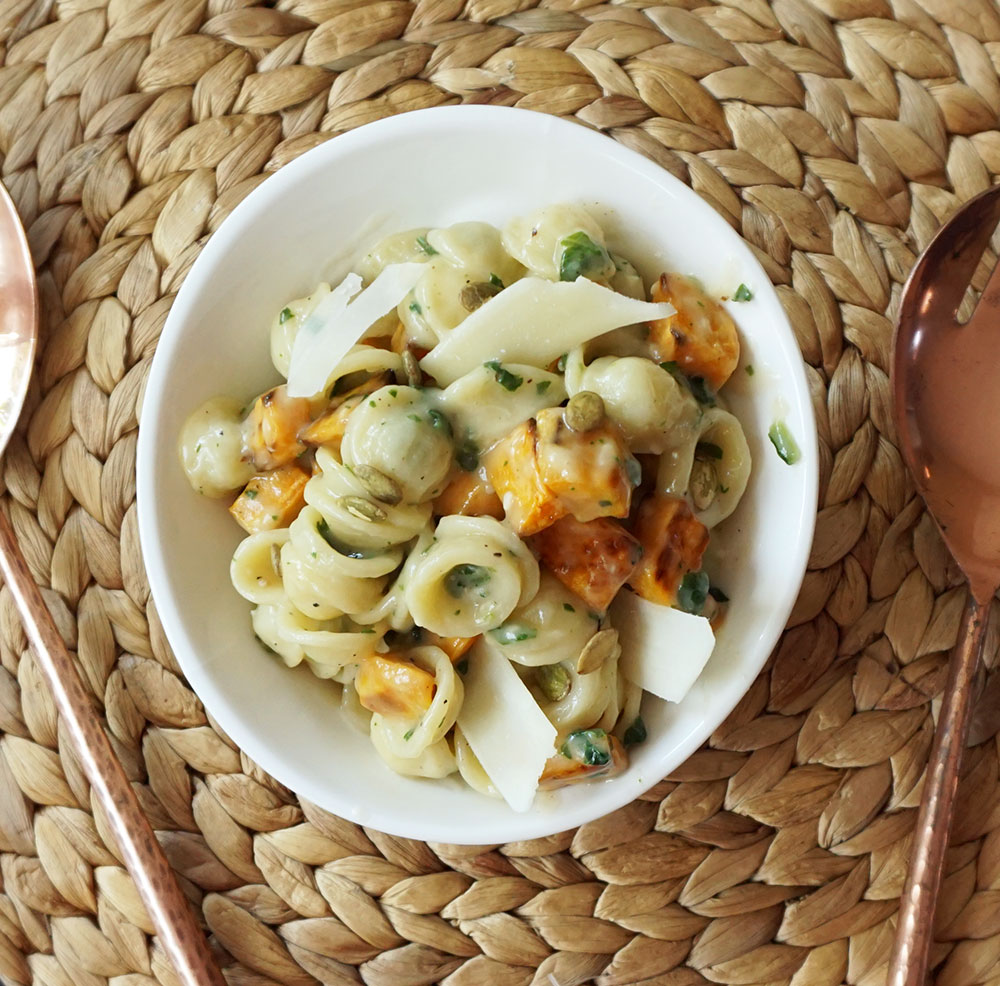 Parmesan sweet potato pasta