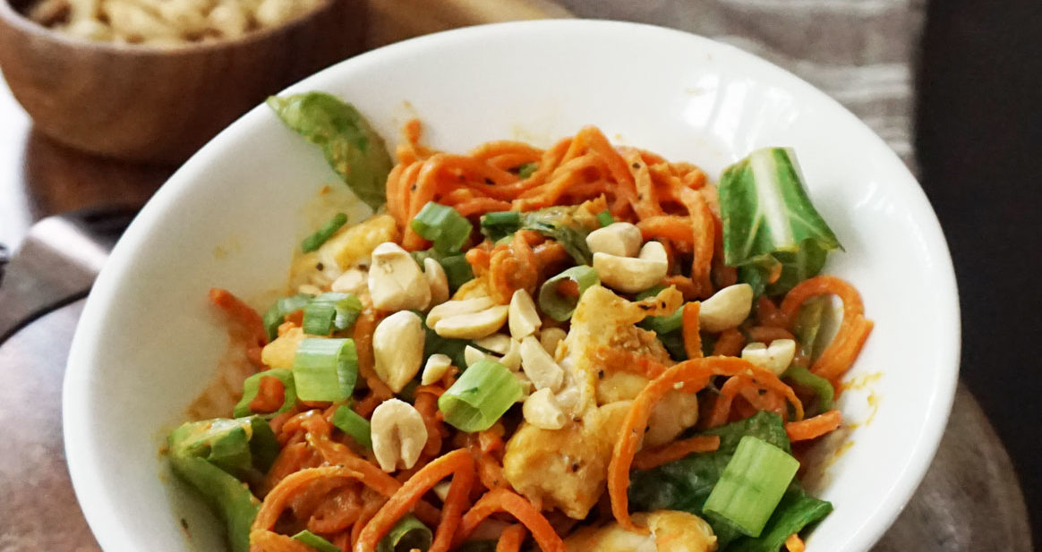 Thai peanut spiralized carrots