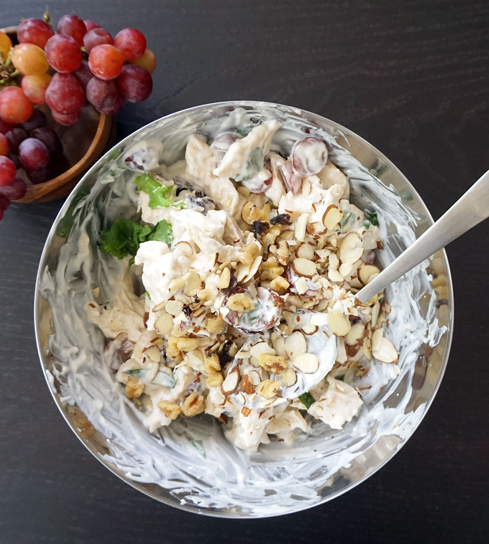 Lightened up chicken salad (with fruit & nuts!)
