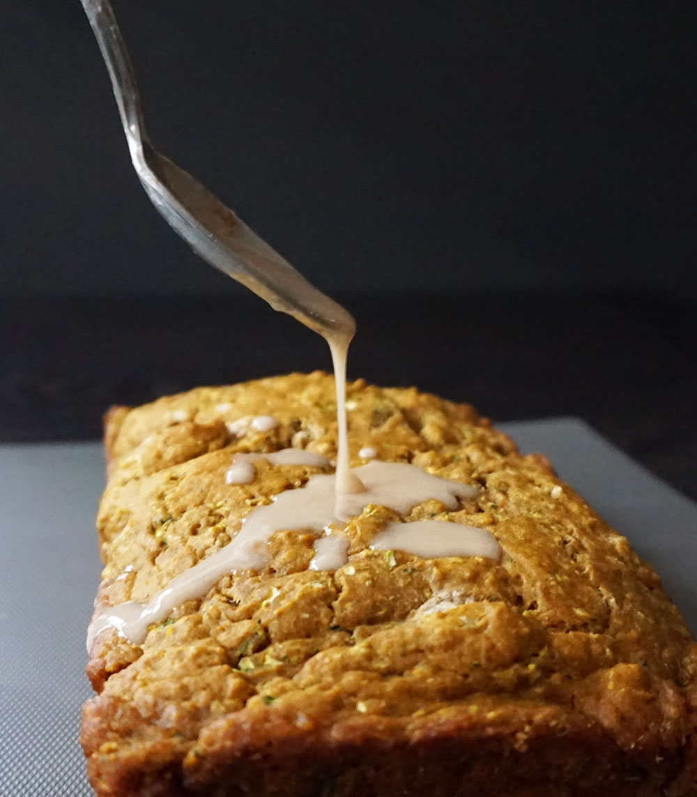 Pumpkin zucchini bread with cinnamon glaze