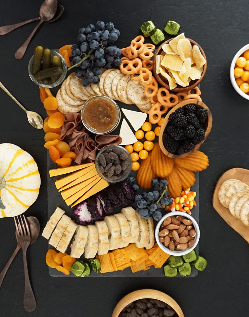 Halloween charcuterie board, cheese board, meat and cheese board
