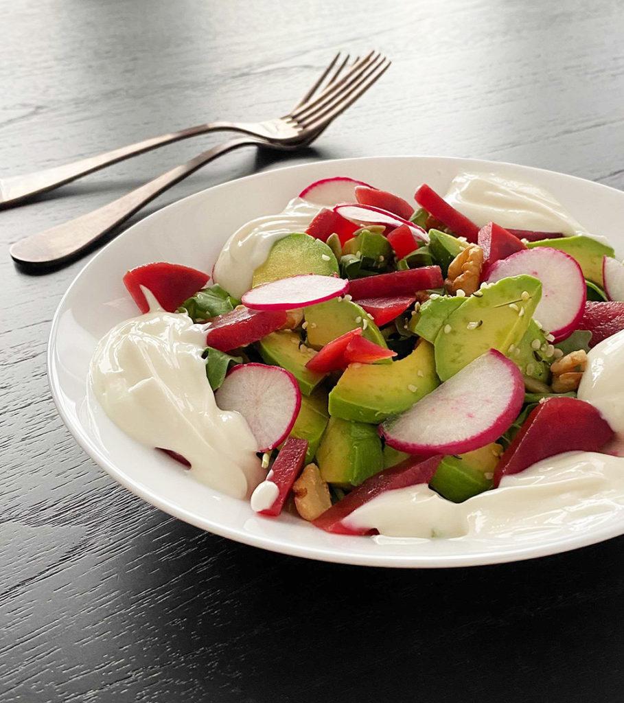 Beet and avocado salad with honey yogurt dressing